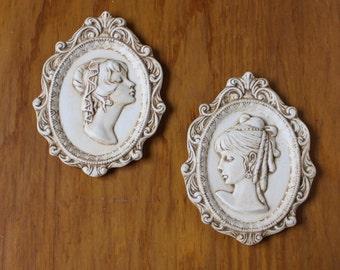 Vintage Pair of Small Ceramic Cameos