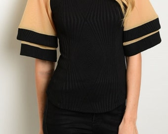 Top, black top, cute and comfortable top with stretch, chic and fashionable, simple and fun summer top, knit black top, bell sleeves