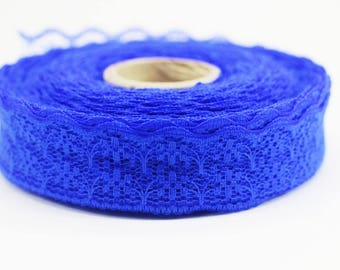 25 mm Royal Blue Lace trim  - Seam(0.98 inches) Binding hem tape chantilly lace trim for bridal, baby, lingerie, hair accessories  -