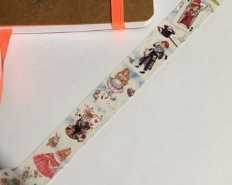 Alice In wonderland tape, washi tape, gift wrapping, planner, journal, Rabbit washi, Alice washi, white rabbit, Alice washi, washi tape
