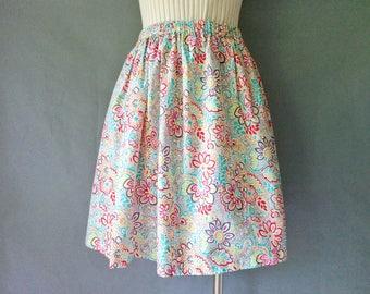 Vintage floral cotton sun skirt size S/M