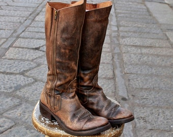 HARLEY DAVIDSON motorcycle boots Leather Brown aged amphibians high num 39