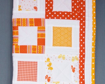 Baby quilt blanket handmade and unique, orange yellow white squares patchwork
