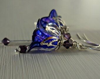 Bridesmaid Earrings - Bridesmaid Jewelry - Bridal Earrings - Bridal Jewelry - Flower Earrings - Floral Earrings - Purple Wedding Bridesmaid.