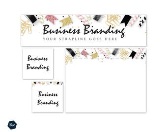 Pink and gold Business Branding - Store Banner Graphics - Social Media graphics - Commercial Use Business Branding - Business Branding -