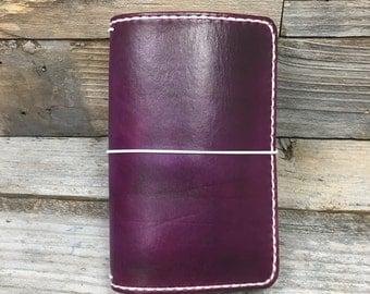 Purple fauxdori . Full grain leather . Hand dyed journal . Traveler's notebook . Midori style . B6 slim fauxdori . hobonichi . A6 journal