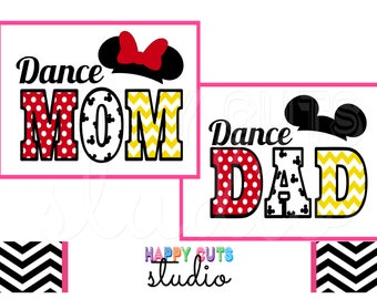 Cheer Mom Dad Dance Mom Dad Matching Family Vacation Classic Red Yellow White Bow Minnie Mouse Disney Iron On Decal Vinyl for Shirt 257