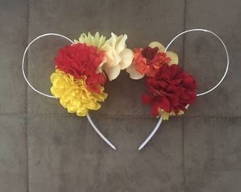 Red, orange and yellow mouse ears flowered headband