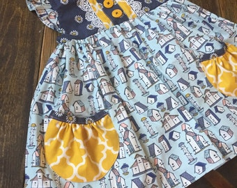 Flutter Dress with Pockets   6/12m to 8y