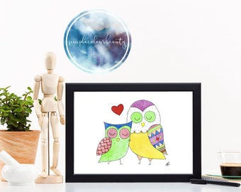 PRINT - Two Owls Watercolour Print - Colour Variation #2