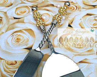 Wedding Cake Server and Knife Set / Gold Rhinestone Cake Server Set / Anniversary Gift / Engagement Gift / Bridal Shower Gift / Wedding Gift