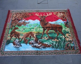 Turkish wall hanging rug,illustrated deers are in nature,62 x 46 inches