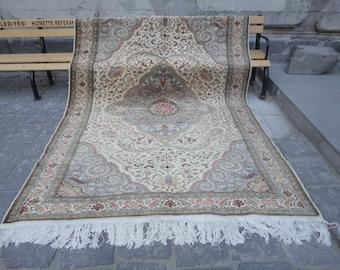 Turkish rug Large, 6 x 9 pastel color rug,muted colors rug,118 x 79 inch,room size rug,pile rug,large size rug,salon rug,hand made area rug