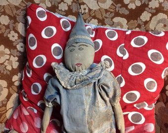 Clown doll vintage embroidered face handmade primitive