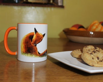 Fox Cleaning, Coffee Mug, Tea Cup, Fine Art Print of Foxes, Bright Animal Drinkware, Perfect Gift