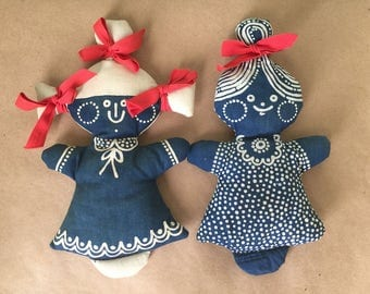 Navy Blue Print Rag Dolls with Pigtails in Ribbons Handmade Folk Dolls