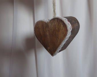 Heart shaped woodland ring box