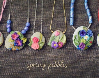 PEBBLES - PolymerClay Fashion Jewelry, Nature Inspired Jewelry, Floral Pendant set