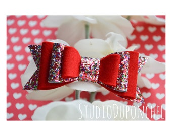 red hair bow, red hair clips, red glitter hair bow, glitter hair bow, glitter hair clips, infant hair clips, infant headband