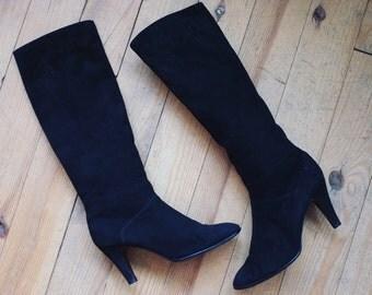 Vintage high tigh suede suedine  leather boots heels 39,6