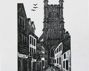 Cirencester print, townscape print, engraving of street, monochrome print, wood engraving
