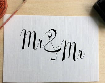 Wedding invitation stamp - Mr & Mr - wedding - gay invitation rubber stamp - civil ceremony. Gay wedding - your own wedding stamp