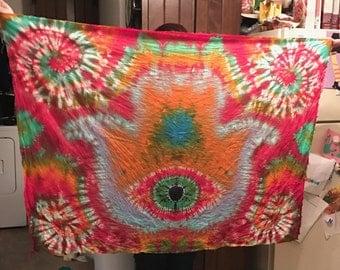 tie dye tapestry, Hamsa Hand Tapestry, trippy, hippy, psychedelic, eye, spiral, handmade,