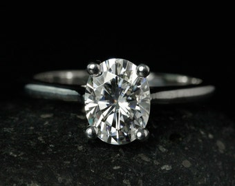 Forever One Colorless Moissanite Oval Cut Engagement Ring - Solitaire- Moissanite - Simple Band