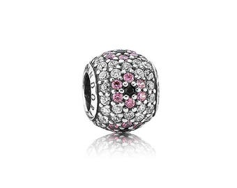Authentic Pandora Pink Pave Cherry Blossom Pink and Clear CZs Floral Charm Bead