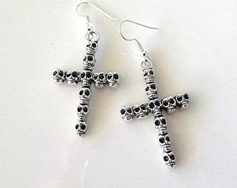 Cross earrings crucifix earrings drop dangle earrings skull cross skull earrings grunge earrings goth earrings emo earrings goth gift.