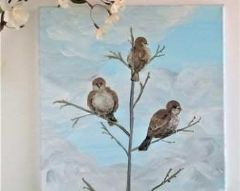 Original Acrylic Painting of Three Birds on Branches 12x12 Canvas Art