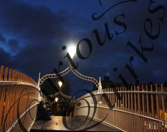 The Ha'penny Bridge overThe River Liffey Dublin Ireland Photo at Night