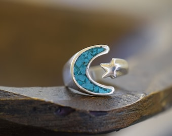 Turquoise Stone Crescent Moon and Star Vintage 925 Silver Ring, US Size 5.5, Used