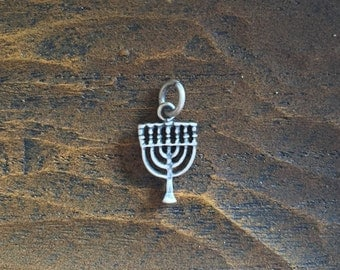 Menorah Silver 925 Vintage Religious Charm, Item S40- Free Shipping within USA