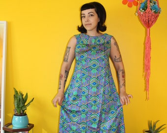 Vintage 1970's Electric Blue patterned Maxi dress with train