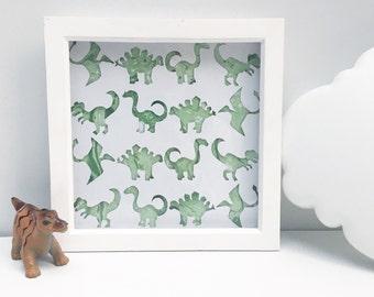 Framed Dinosaur papercut, dinosaur motif, dinosaur picture, dinosaur frame, dinosaur nursery, dinosaur theme, dinosaur art