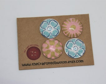 Wedding favour Fridge Magnets - blue, pink, floral wedding favours, decorative glass magnets, set of 2/4, handmade, the crafty red button
