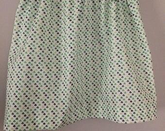 Girls Skirt and Bow set - Glitter lucky clover - Green and white