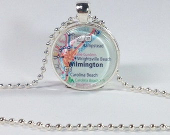 Wilmington NC Pendant photo necklace – map of Wrightsville Beach and Carolina Beach NC photo pendant. Choice of necklace or keychain.