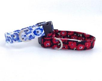 Poppy Dog Collar   Floral Dog Collar   Red Dog Collar   Girl Dog Collar   Puppy Collar   Dog Collar   Small Dog Collar   Large Dog Collar
