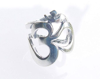 "Large Adjustable ""Om"" ring  in Sterling Silver R-14"