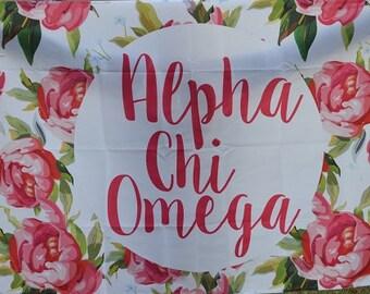 Alpha Chi Omega Floral Flag