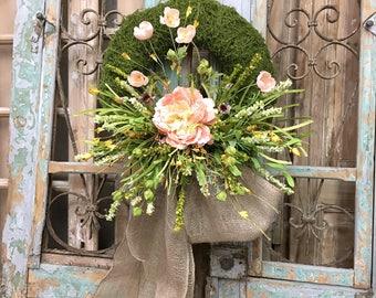 Spring Wreath, Door Decor, Wreath, Summer Wreath, Floral Wreath, Moss Wreath
