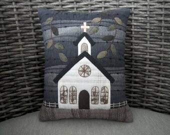 Summer Church Quilted Cushion