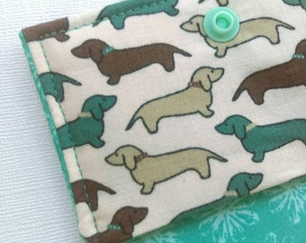 Dachshund wallet, design your own, wiener dog cash wallet, hand sewn credit card wallet for Doxie lovers, dog lover gift