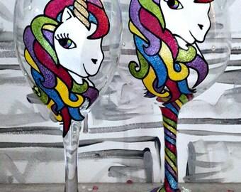 Unicorn Wineglass, Hand-painted wineglass