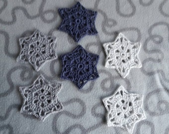 Crochet snowflakes, set of 6 - coaster, decoration