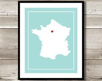 France Wall Art, France Print, Digital Print, Custom France Wall Art,France
