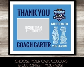 Coach Gift, Coach photo print, digital print, Coach Thank You gift, Personalized, Team Logo, Team Member Names print, keepsake