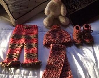 Crochet Baby girl winter set